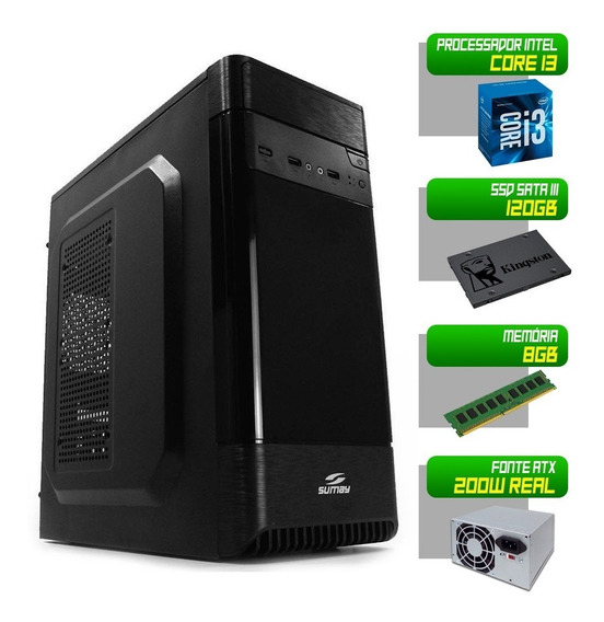 Computador 1155 I3 2120 8gb Ddr3 Ssd 120gb Pc Desktop Cpu