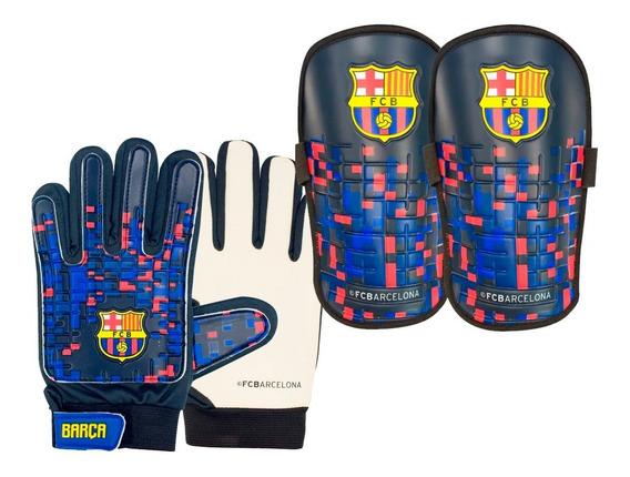 Kit Futbol Barcelona Lic. Oficial Guantes Canilleras Barca