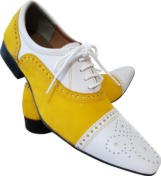 Sapato Masculino Em Couro Branco E Camurca Amarelo Ref: 652