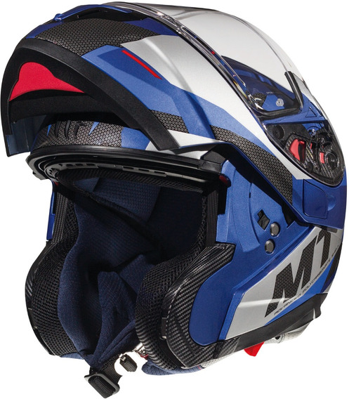 Casco Moto Rebatible mt atom Transcend E7 Azul Brillo