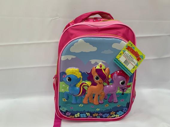 Mochila Infantil Escolar My Litlle Poneys Rosa Costa 3d