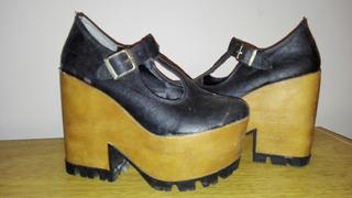 Zapatos Negros Con Plataforma Nuevos Numero 38 De Marca Pu