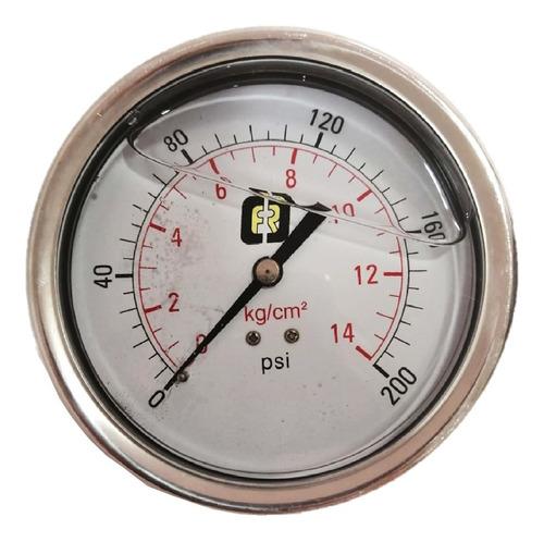 Imagen 1 de 4 de Manómetro Glic 0a200 Psi Conex Trasera Inox Caratula 4 PuLG