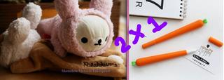 Rilakkuma Conejito Lapicera + 2 Plumas Zanahoria Kawaii 2x1 Conejo Cute