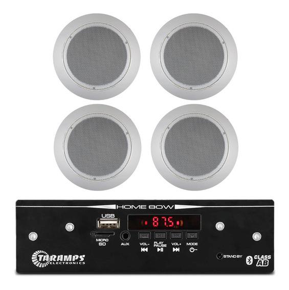 Receiver Pro Home 120w Rms 4 Caixas Gesso Brancas