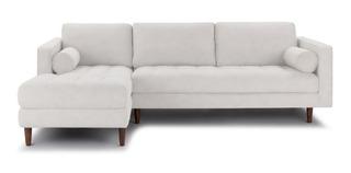 Sofa Resty Pe Palito Retro Chaise 2 Rolinhos 3 Lugares 200cm