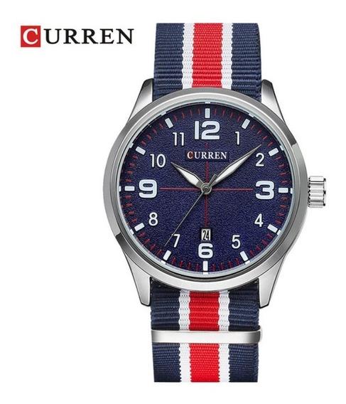 Relógio Masculino Nylon Azul E Vermelho Aço Inoxidável Novo