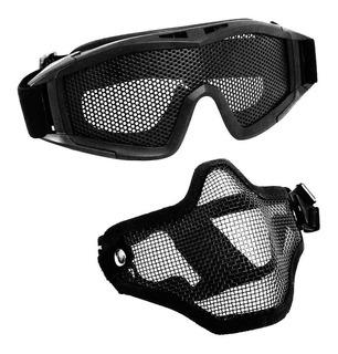 Kit De Proteção Airsoft Ntk Óculos De Tela + Máscara Ntk