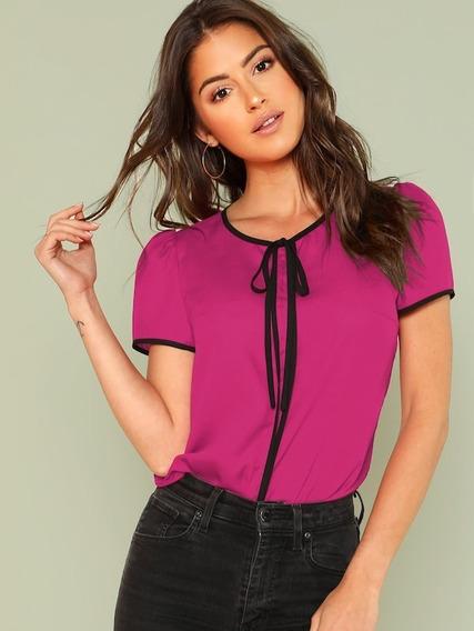Blusa Con Moño Blusas De Moda Blusas Dama Ropa Mujer