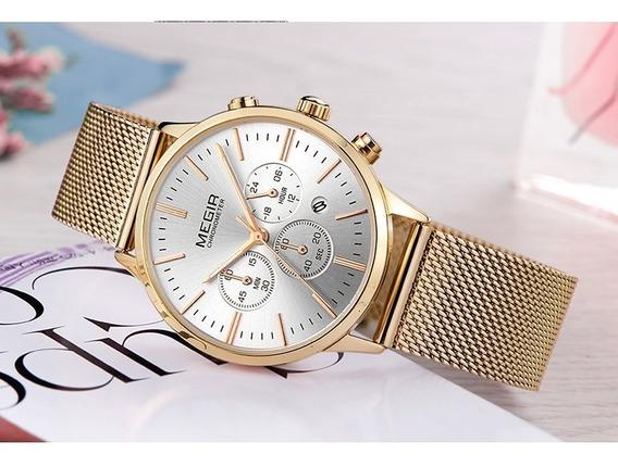 Megir Marca De Luxo Mulheres Relógios De Quartzo Moda Senhor
