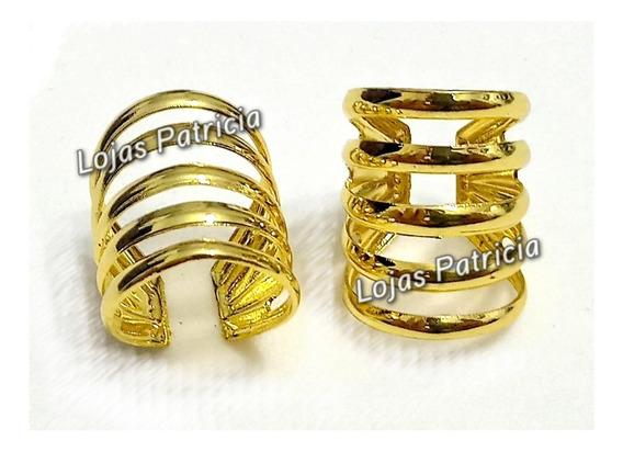 Brinco Ear Cuff Orelha Par Kit 2 Peças Falso Piercing Pressão Frisado Dourado Prateado Liga Metal Feminino Mulher Menina