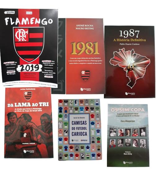 5 Livros Flamengo + Pôster 2019 C/ Títulos Jogadores Camisas