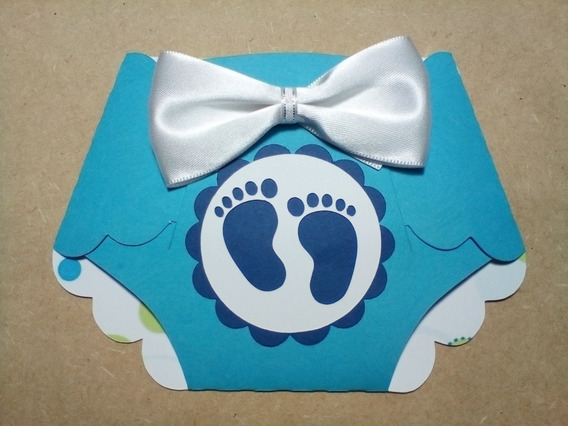 30 Invitaciónes Pañal Baby Shower Niña Niño