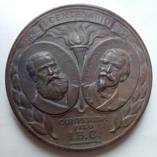 1854 1954 Medalha Brasil D.pedro Ii E Benjamin Constant Ibc