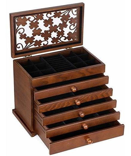 Songmics - Caja Organizadora De Joyería De Madera, 6 Capas,