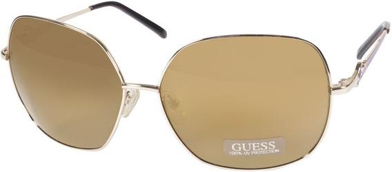 Oculos De Sol Guess Feminino Gu 7189 Gld-1 Espelhado Dourado