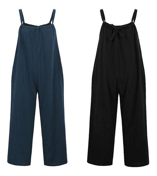 Mulheres Vintage Plus Size Cropped Jumpsuit Sem Mangas