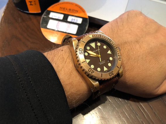 Reloj Helson Shark Diver 45mm Bronze 2000m. Buceo No Omega