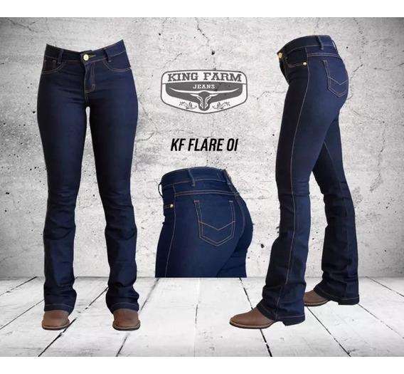 Calça King Farm Feminina Jeans Escuro Flare 01