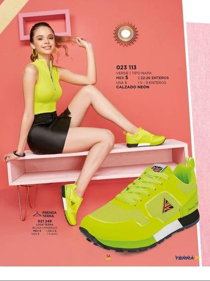 Tenis Dama Terra 023-113 Oi-19 Verde Casual Napa
