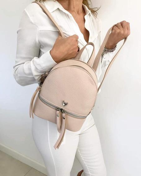 Mini Mochila De Cuero Vacuno 100% Mini Backpack