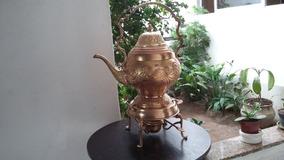 Antigo Samovar Produzido Em Bronze, Altura 42cm