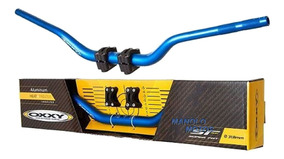 Guidão Off Road Oxxy Super Fat Alto Azul + Adaptador
