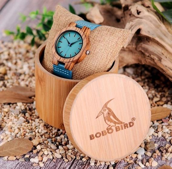 Relogio Pulso Bambu Bobo Bird Unissex Com Caixa De Madeira