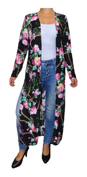 Sobretodo Kimono Largo Con Aberturas Cardigan Flores Mujer