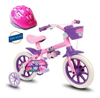 Bicicletinha Infantil Menina Aro 12 Cat Nathor + Capacete