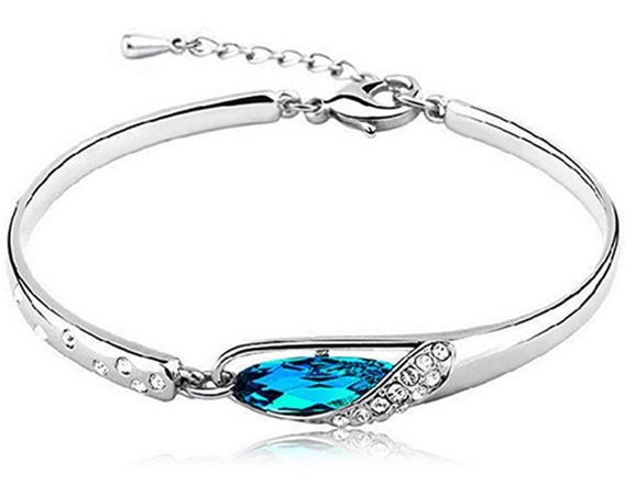 Pulseira Feminina Cristal Azul Casamento Alto Brilho