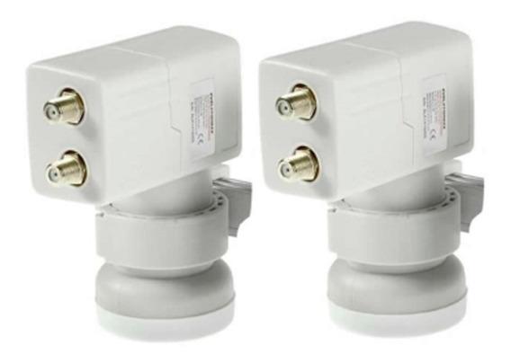Kit Lnb Carona 2x2 4 Saídas 2 Duplo Regulagem Individual Haste De Alumínio Universal Antena Envio Imediato