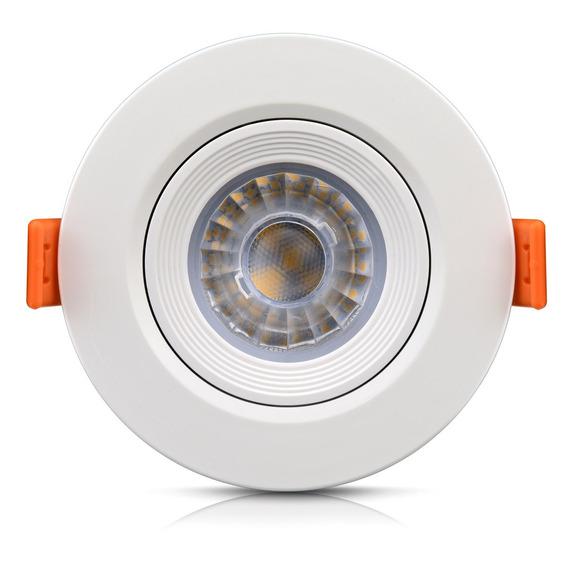 Spot Direcionável Led Embutir Redondo 5w Branco Quente