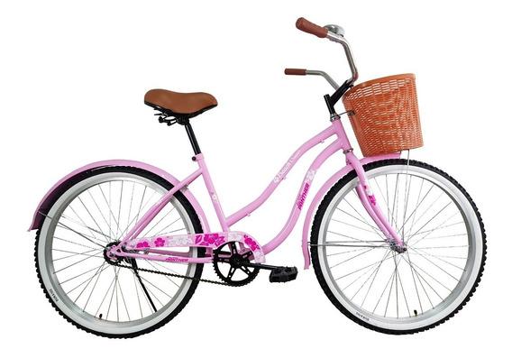 Bicicleta Vintage Cruiser Rodada 26 Con Canasta Y Timbre