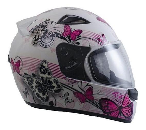 Capacete para moto integral EBF Capacetes New Spark Borboleta branco/rosa L