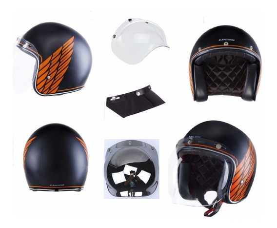 Capacete Lucca Old School Wing Matt Black Orange