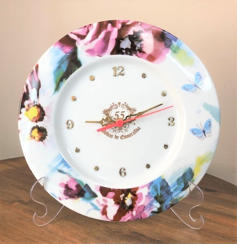 Imagem 1 de 6 de Relógio Bodas De Esmeralda 55 Anos De Casamento 28cm