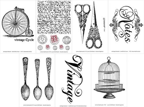 Sublimacion Laminas Set Vintage X 7 Laura Craft