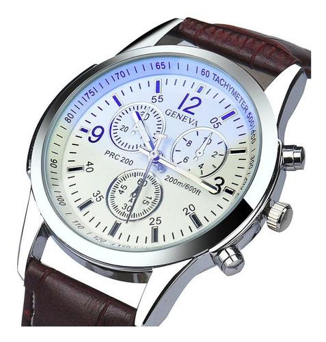 Reloj Casual Hombre Cuero - Color Marron Blanco
