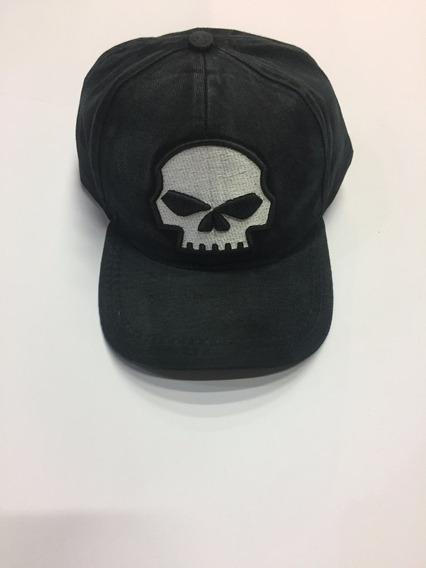 Boné Harley Davidson Skull Preto Estonado