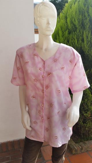Blusa Remera Grande Seda Con Flores Talle Xxxl 58/60 Escote