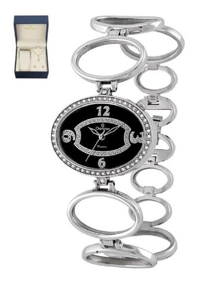 Kit Relógio Feminino Champion Prateado Swarovski Ca29242k