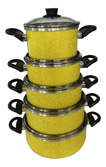Conjunto Panelas Amarelo Portela Com 5 Pçs