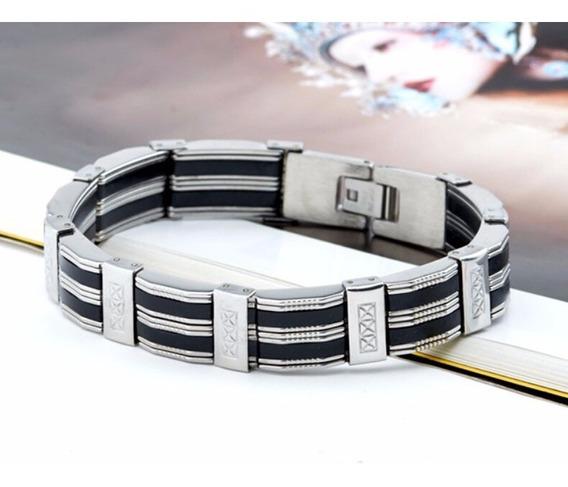Pulseira Bracelete Masculino Aço Inox E Silicone 316l Luxo