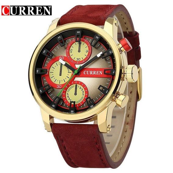 Relógio Curren Original 8170 Dourado Vermelho Casual Fashion