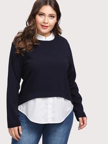 Blusa Tipo Sweater 2 En 1, Tallas Extras 1xl Y 2xl