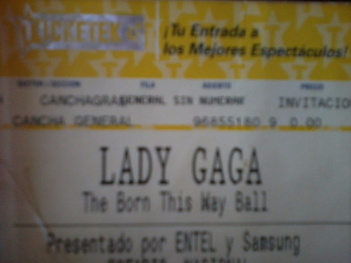 Entrada Ticket Lady Gaga - Born This Way Ball -  Nov -2012