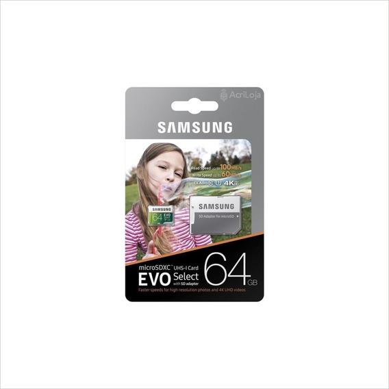 Cartão De Memória Samsung Microsdxc Evo Select 64gb U3 E 4k