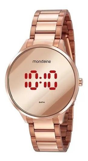 Relógio Mondaine Aço Dourado Rose Gold Redondo Espelhado Dig