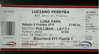 Entrada Luciano Pereyra Luna Park Sabado 05/10